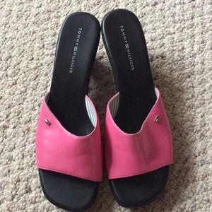 Pink wedge slide sandals Tommy Hilfiger